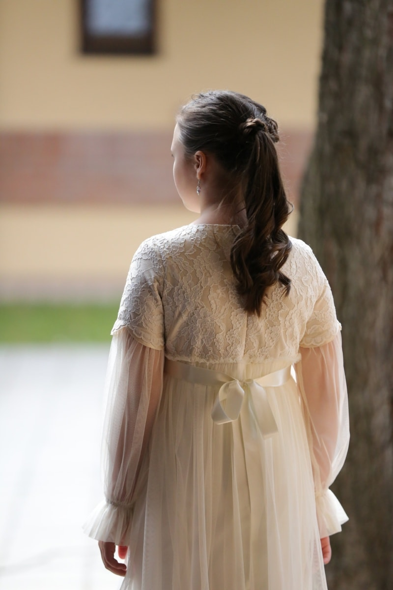 princess, dress, pretty girl, hairstyle, outfit, fashion, clothing, garment, cardigan, nature