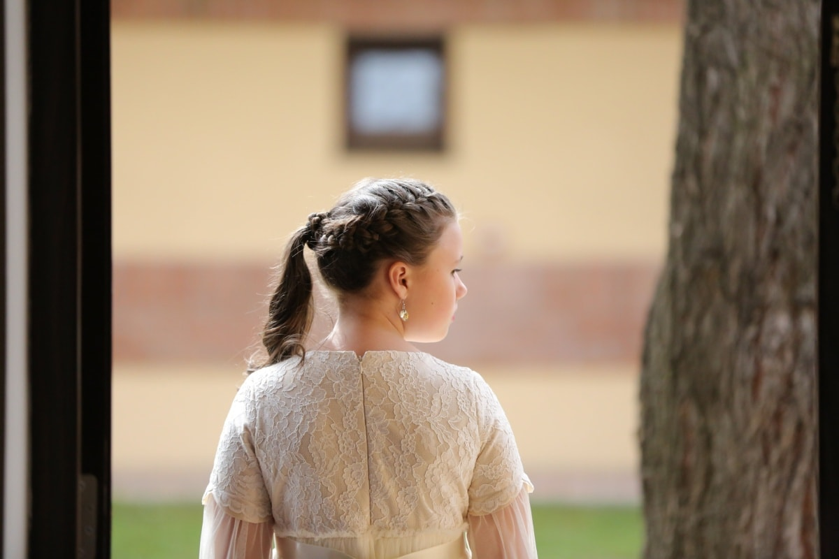 hairstyle, princess, dress, fashion, outfit, person, park, outdoors, wedding, girl