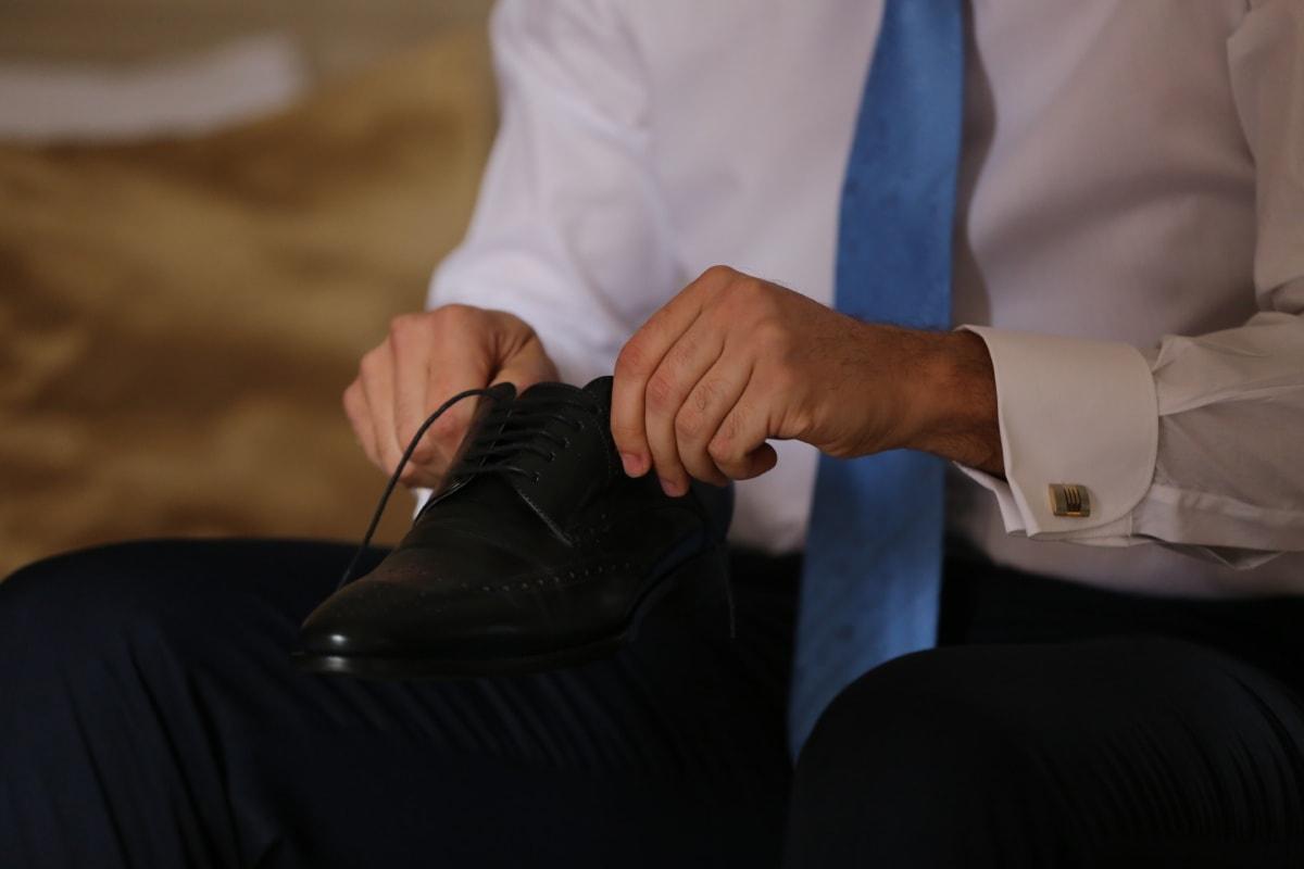 Leder, Schwarz, Schuh, Mann, Hose, Krawatte, Geschäftsmann, Shirt, Unternehmer, Hand