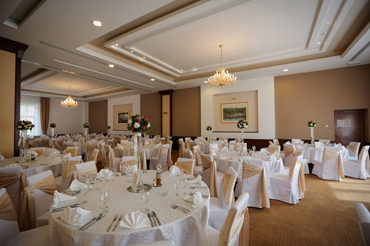 dining area, interior decoration, lunchroom, table, hotel, chairs, ceiling, elegance, tableware, tablecloth