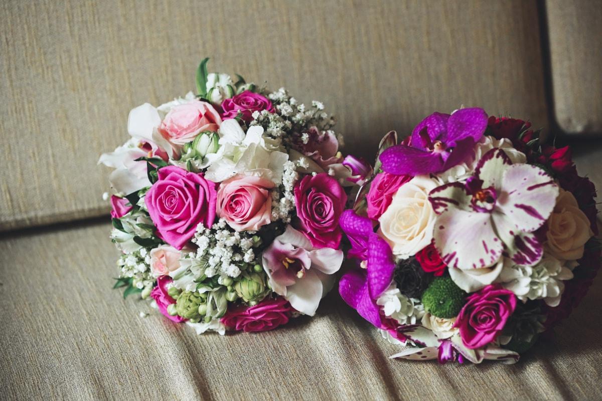 wedding bouquet, bouquet, sofa, rose, flower, flowers, wedding, love, arrangement, romance
