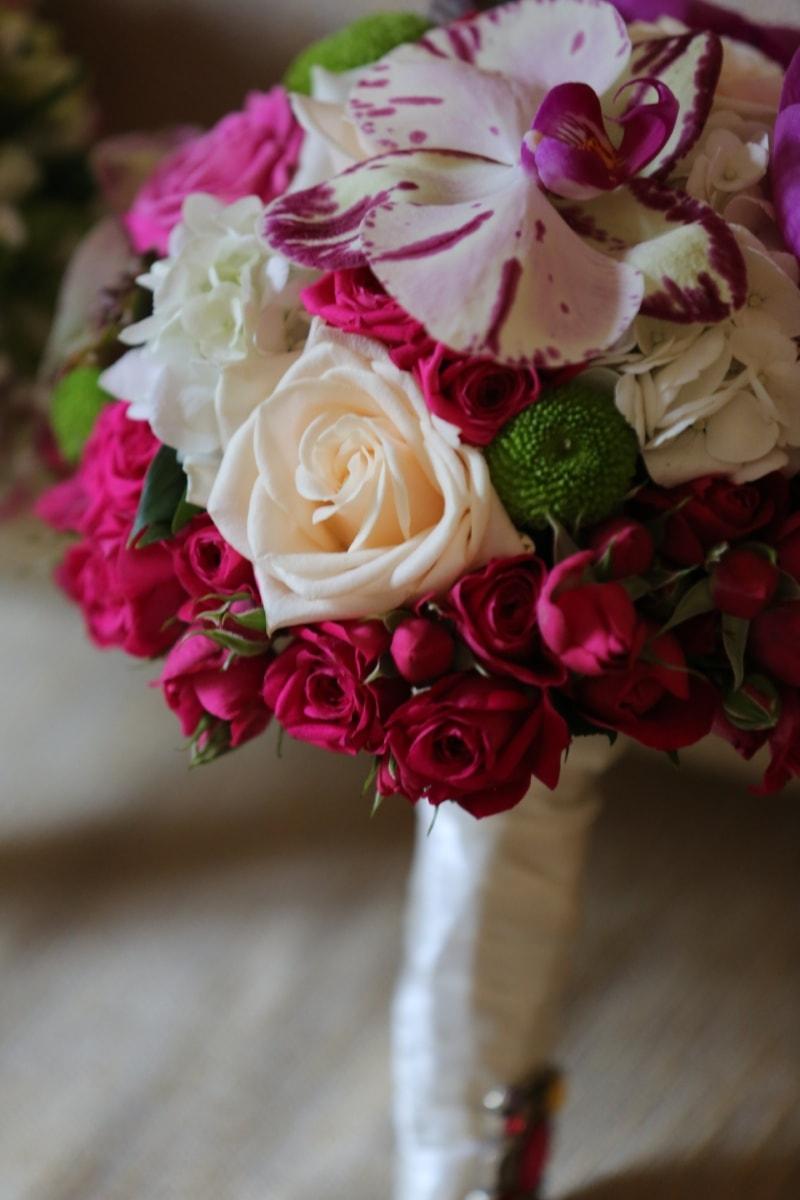 roses, purple, orchid, wedding bouquet, gift, arrangement, bouquet, flower, wedding, rose
