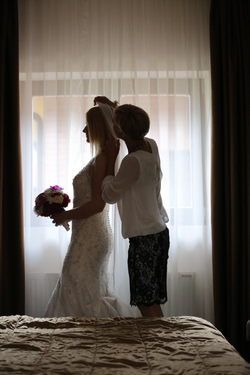 preparation, wedding dress, bride, wedding bouquet, veil, wedding, woman, love, girl, window