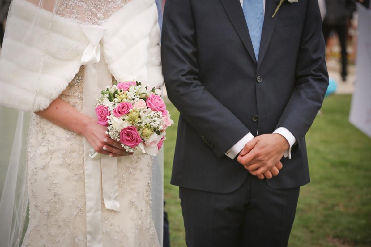 wedding, wedding bouquet, wedding dress, suit, standing, ceremony, groom, bride, togetherness, partners