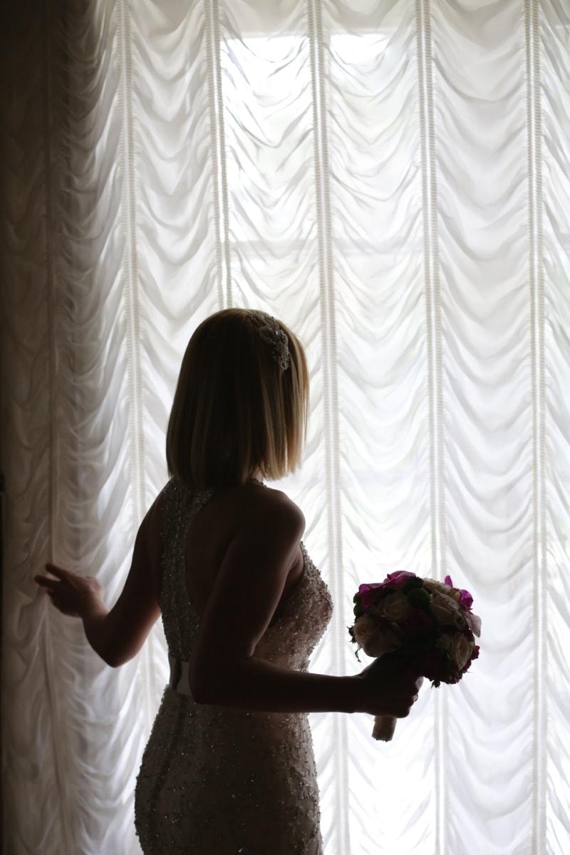 весільна сукня, наречена, весільний букет, вікно, Ліхтарі, симпатична дівчина, чудова, тінь, Завіса, покриття