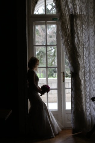 think, pretty girl, bride, alone, wedding dress, wedding bouquet, curtain, shadow, pretty, attractive