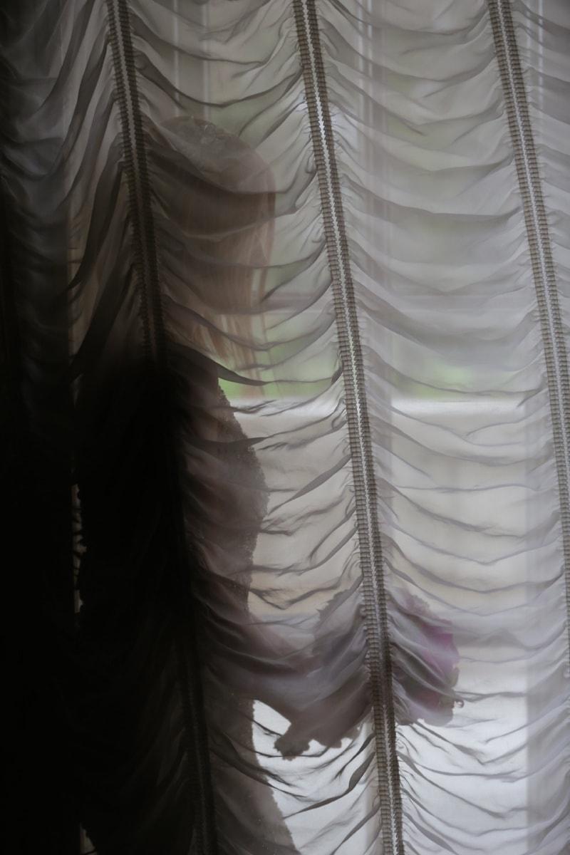 la mariée, rideau, seul, Jolie fille, ombre, romance, mariage, couvrant, modèle, texture
