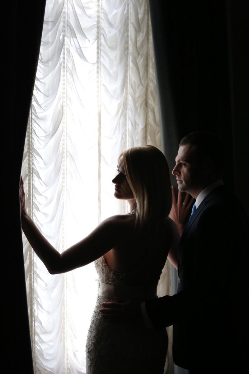 handsome, gorgeous, pretty girl, elegance, fashion, couple, shadow, curtain, love, groom