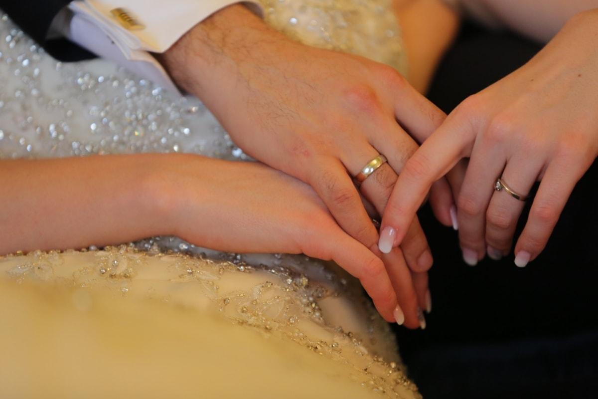 wedding ring, hands, finger, couple, wedding dress, manicure, love, comfortable, comfort, dress
