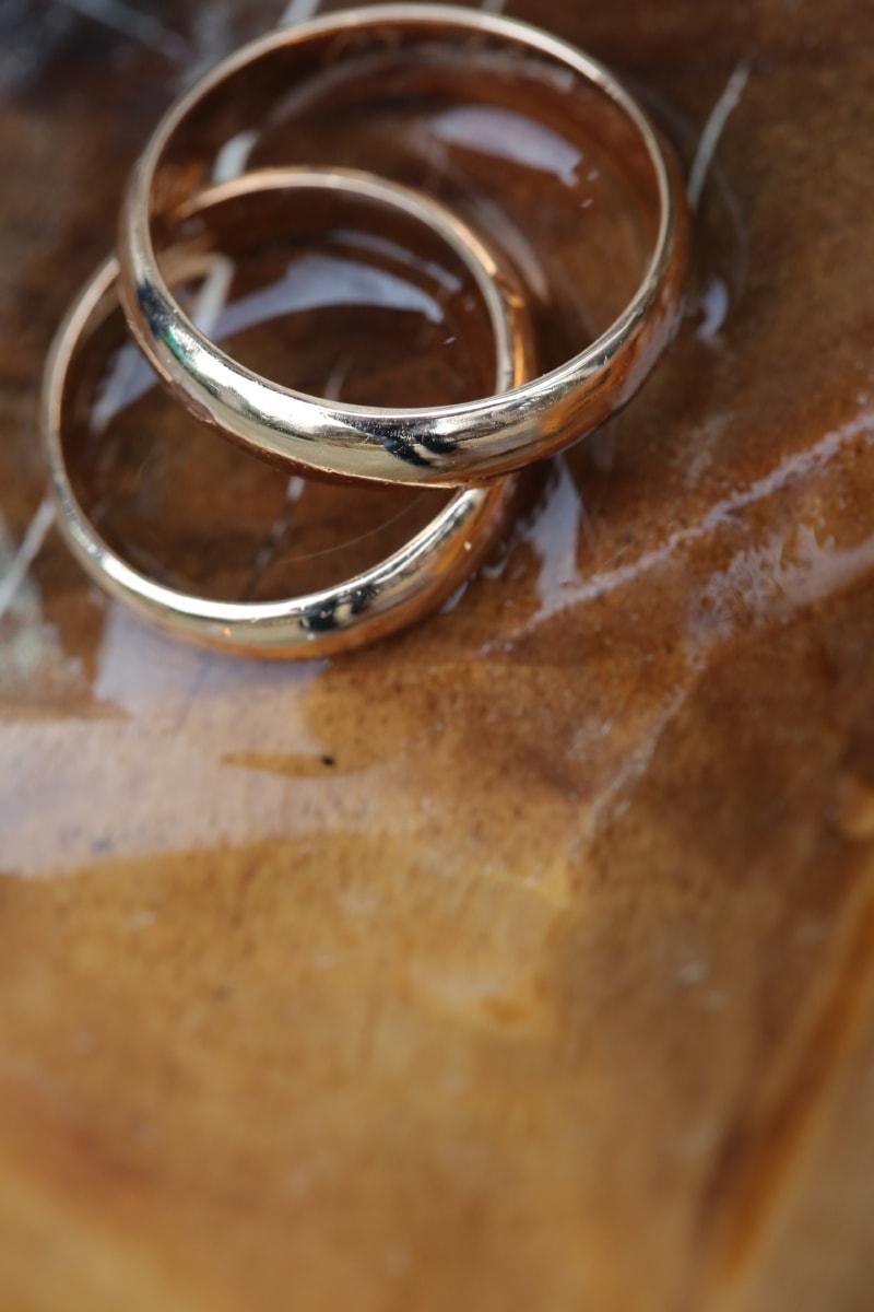 anneaux, Or, marbre, bague de mariage, bijoux, paire, brun, fermer, brun clair, Metal
