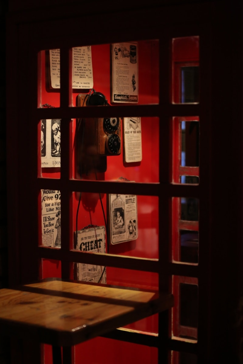 Antike, Telefonleitung, Telefon, alt, Architektur, Holz, drinnen, Fenster, Museum, Still-Leben