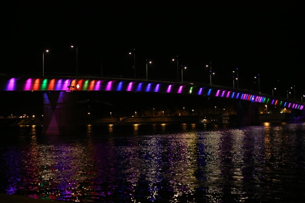 bridge, rainbow, night, calm, nighttime, river, cityscape, structure, city, architecture