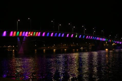 jembatan, Pelangi, malam, tenang, suhu, sungai, pemandangan kota, struktur, Kota, arsitektur