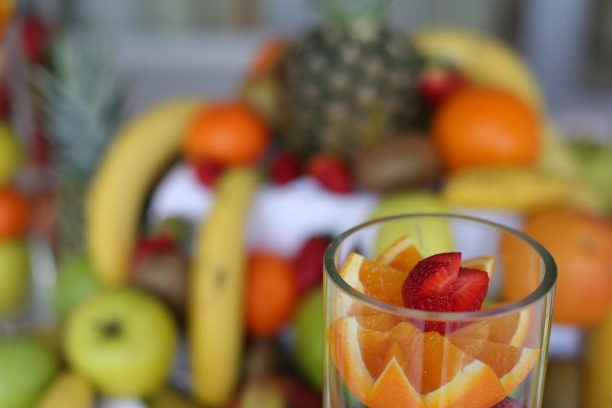 zeste d'orange, fraises, oranges, verre, complet, Haut, fruits, régime alimentaire, santé, en bonne santé