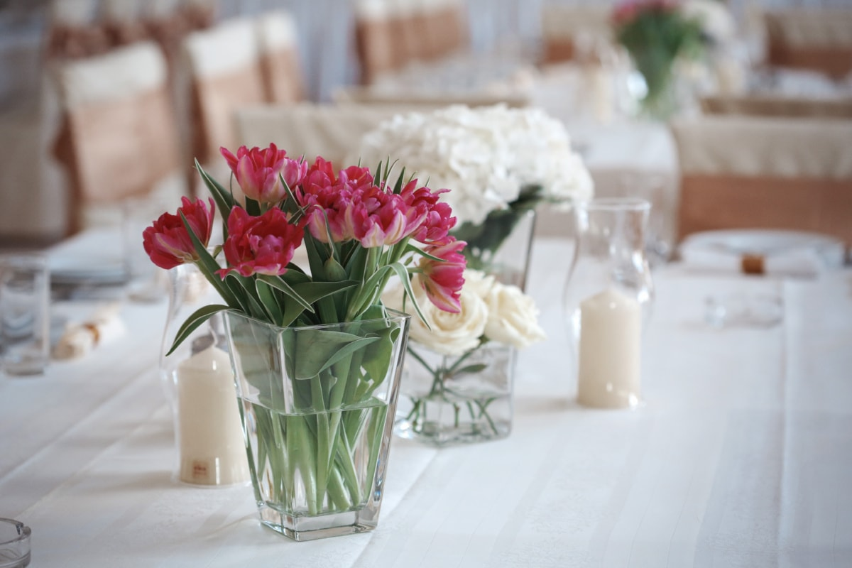 tulips, vase, dining area, table, candles, lunchroom, candlestick, ashtray, jar, flowers