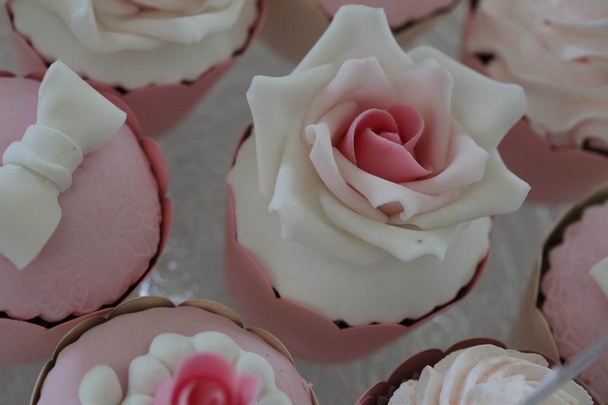 petit gateau, crème, rosâtre, des roses, mariage, Rose, sucre, amour, fleur, Rose