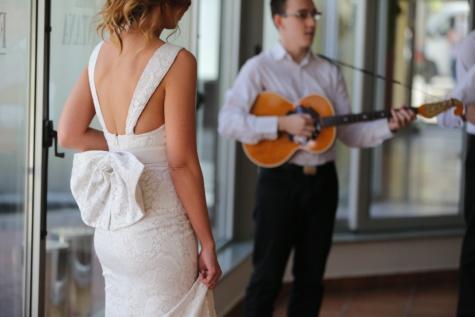 Hochzeit, Musiker, Hochzeitskleid, Feier, Tanz, singen, Frau, Mann, Menschen, drinnen