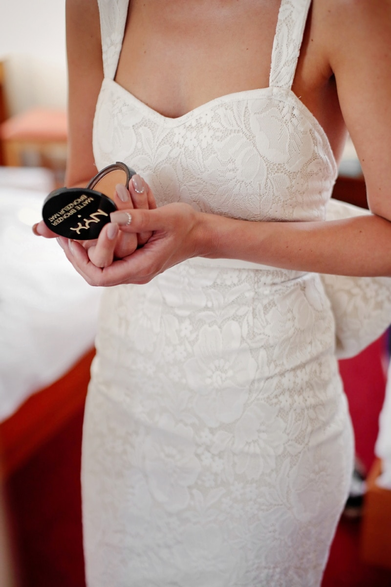 wedding dress, bride, makeup, skincare, hands, cosmetics, finger, skin, person, wedding