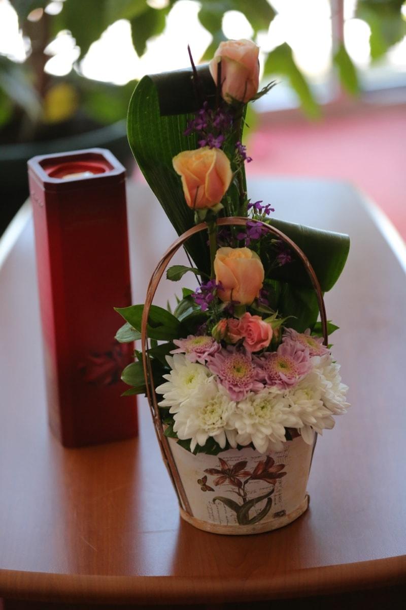 gifts, bouquet, table, wicker basket, love, flower, arrangement, vase, decoration, wedding