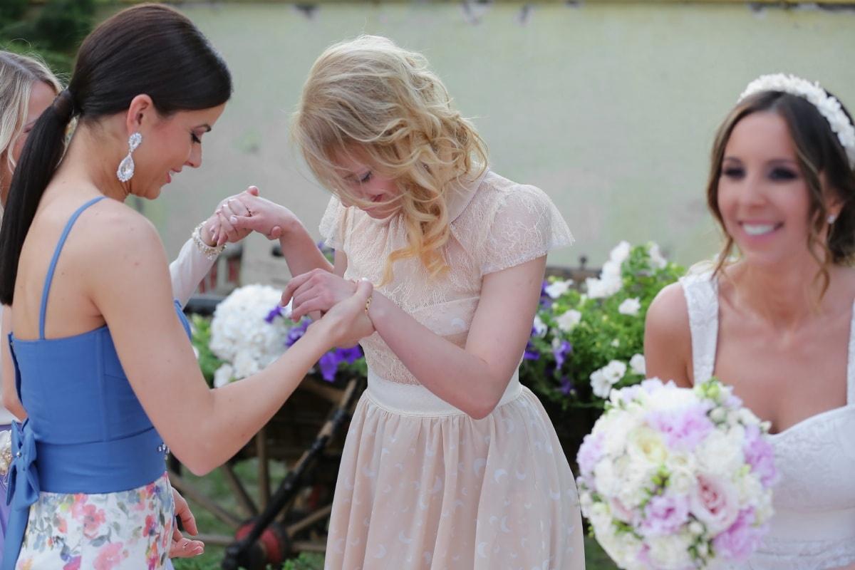 bride, friendship, girlfriend, friends, smile, wedding dress, ceremony, wedding bouquet, happiness, dress