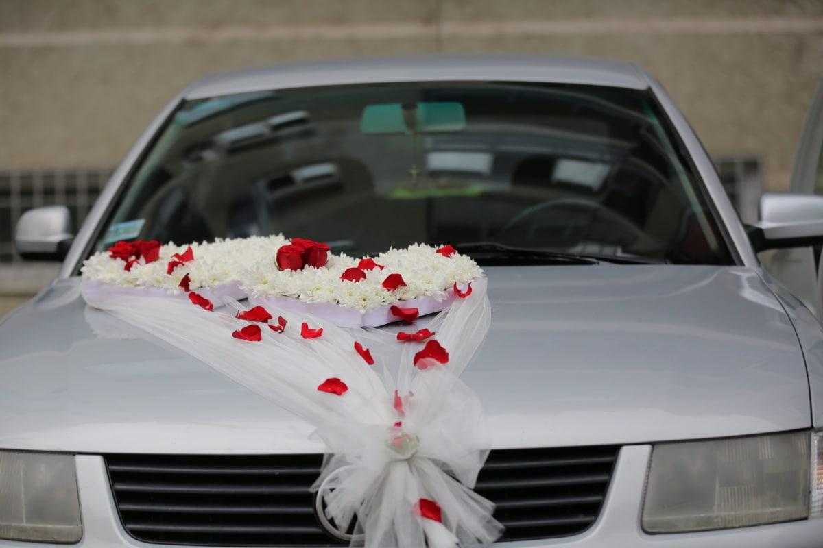 fleurs, mariage, voile, voiture, sedan, pare-brise, luxe, automobile, cérémonie, en détail
