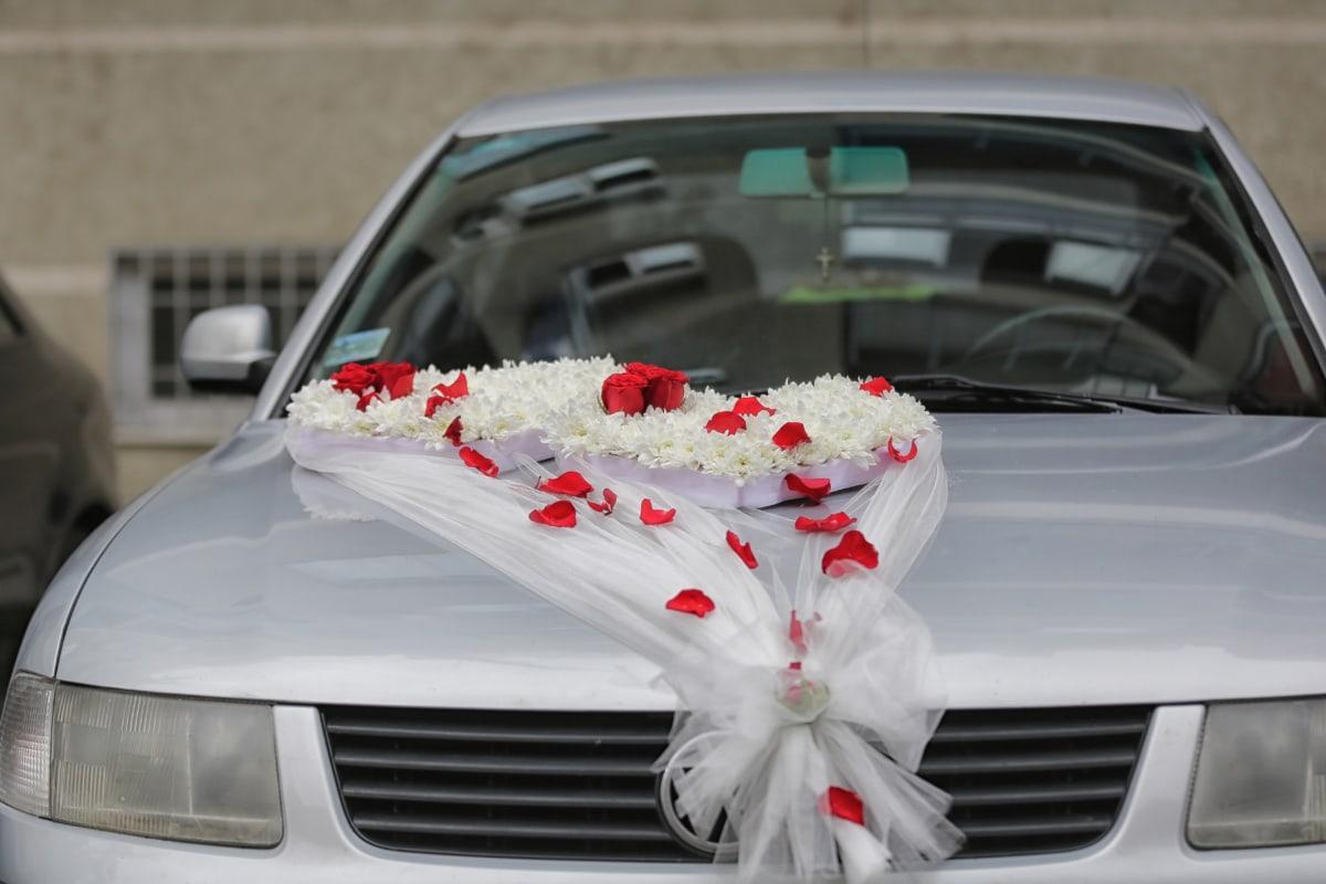 wedding, car, decoration, windshield, arrangement, vehicle, bride, automobile, automotive, luxury