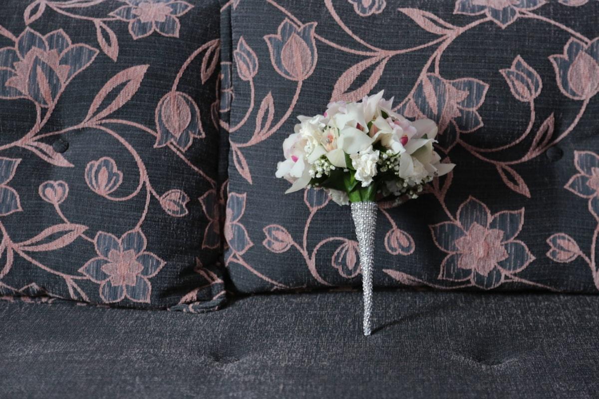 Orchid, charme, bouquet de mariage, chambre à coucher, élégance, oreiller, lit, coussin, tissu, textile