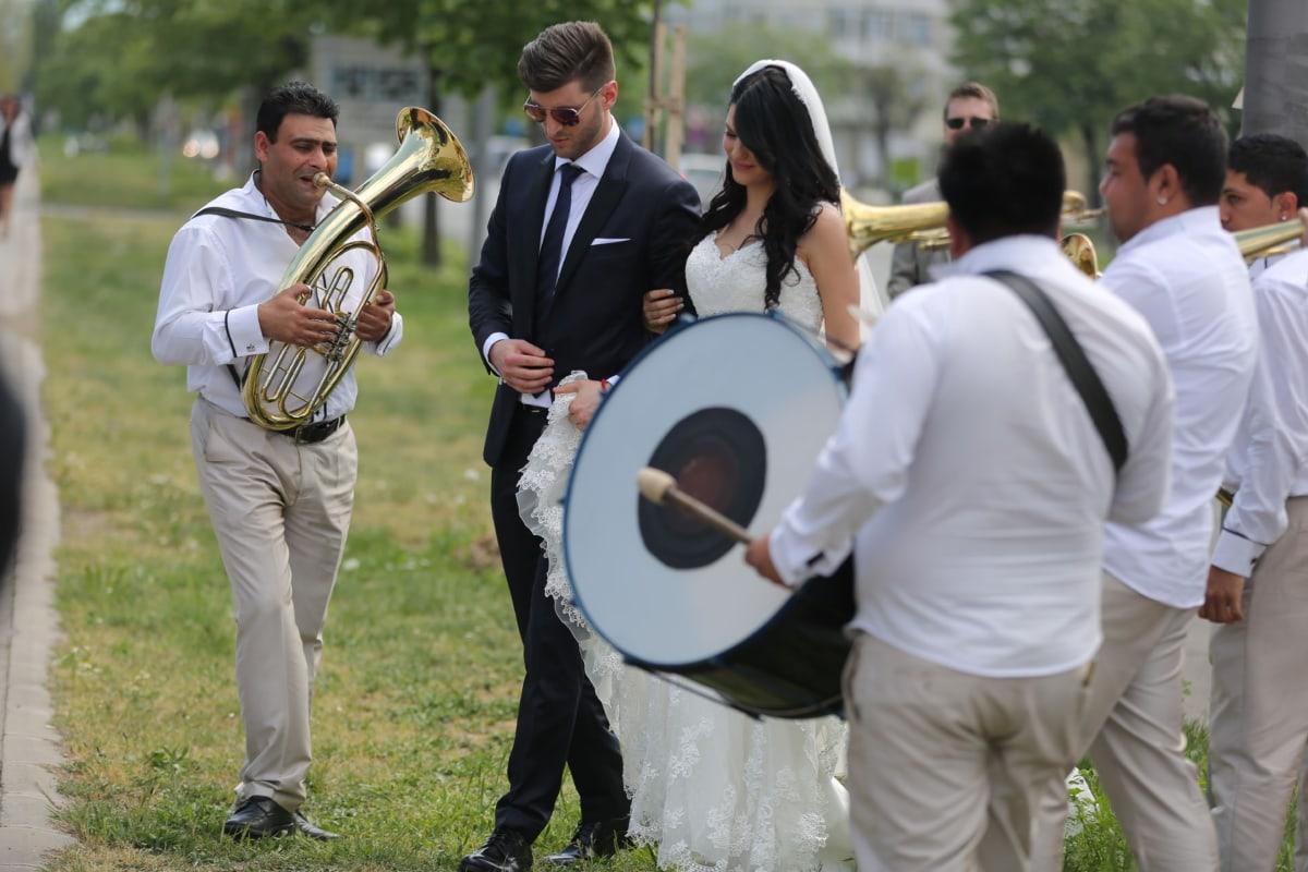 groom, bride, wedding, trumpet, ceremony, musician, trumpeter, celebration, drum, orchestra