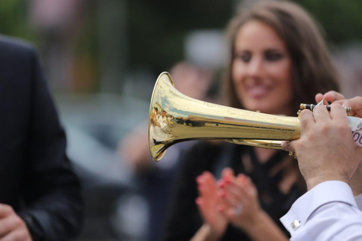 musician, orchestra, cornet, music, brass, woman, people, man, band, city