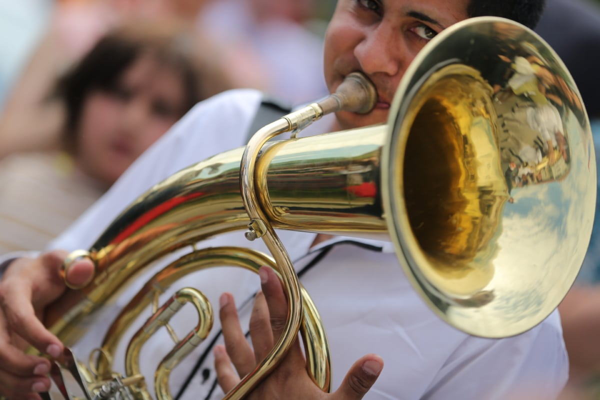 trumpet, trumpeter, musician, brass, band, music, instrument, people, orchestra, festival