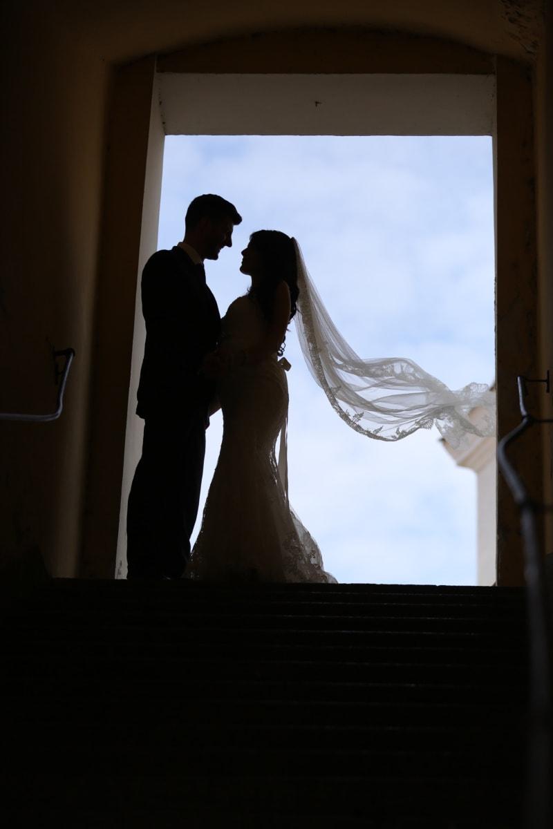 bride, veil, wind, husband, wedding, wedding dress, shadow, staircase, woman, groom