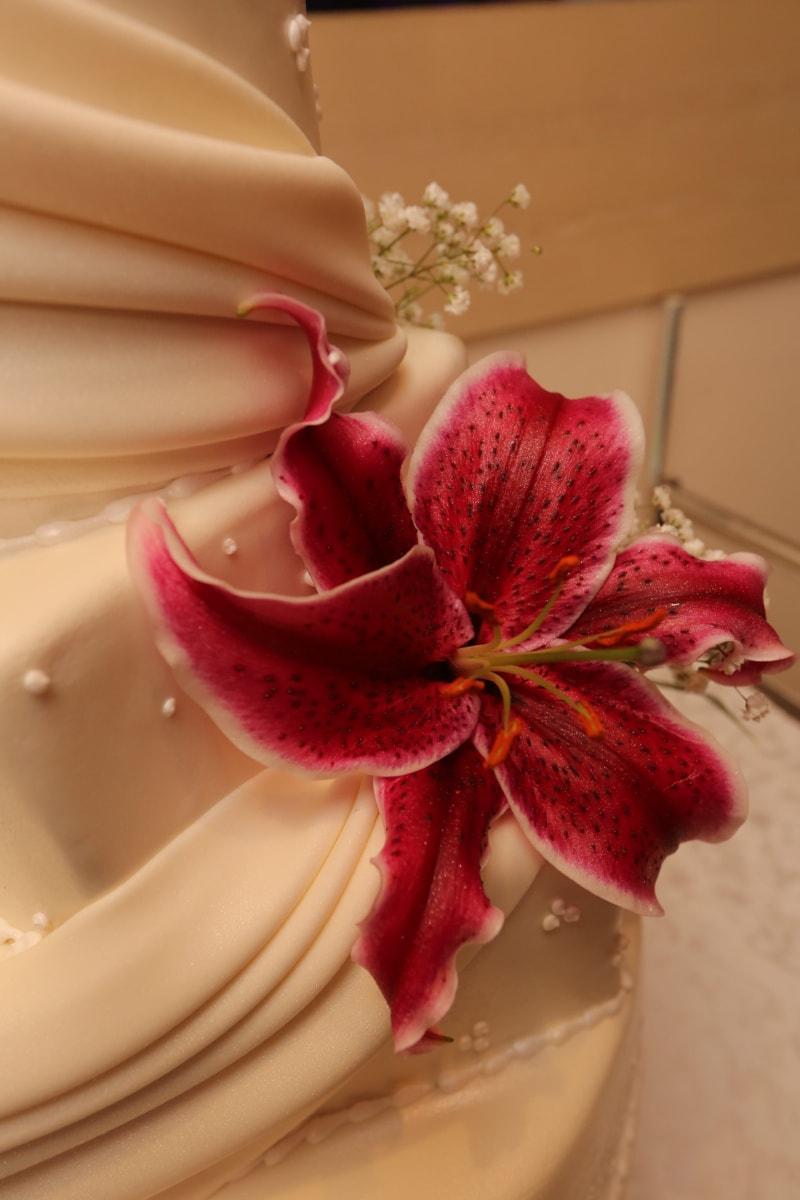 花, 莉莉, 婚庆蛋糕, 花, 粉色, 花瓣, 顶, 植物, 束, 开花