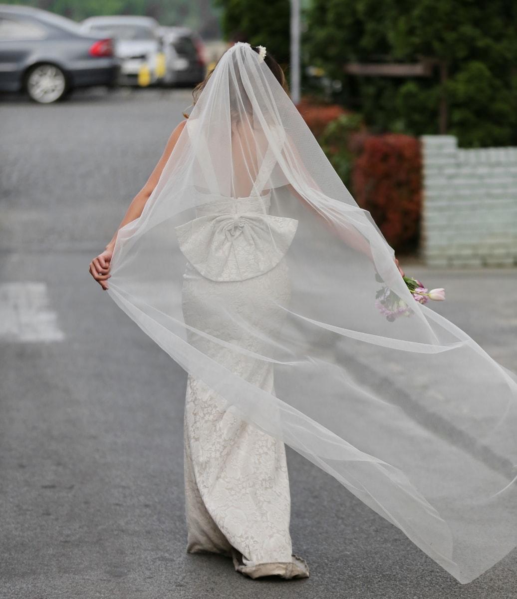 bride, veil, happiness, wedding, wedding dress, parking lot, enjoyment, dress, wedding bouquet, woman