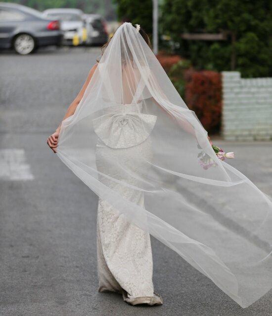 la mariée, voile, bonheur, mariage, robe de mariée, Parc de stationnement, jouissance, robe, bouquet de mariage, femme