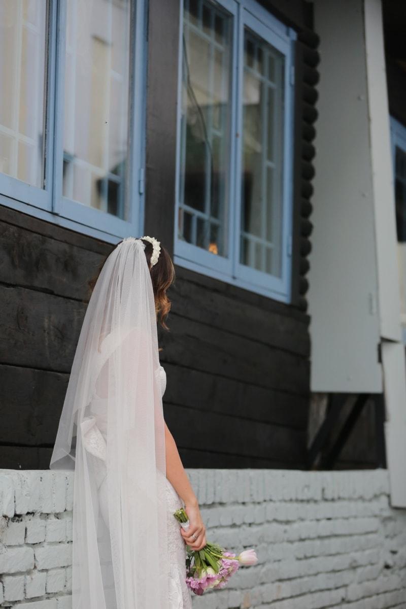 wedding dress, posing, veil, bride, wedding, architecture, architectural style, handsome, pretty girl, gorgeous