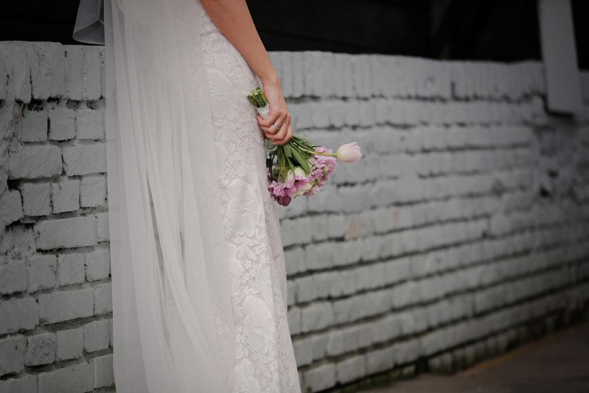 váy cưới, tấm màn che, tơ lụa, váy, bó hoa cưới, dòng chảy, bông, thời trang, ăn mặc, đám cưới