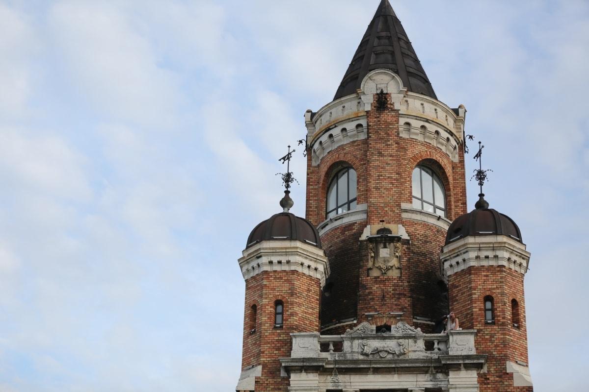 balcon, Prince, princesse, Château, romantique, tour, vieux, Création de, architecture, gothique