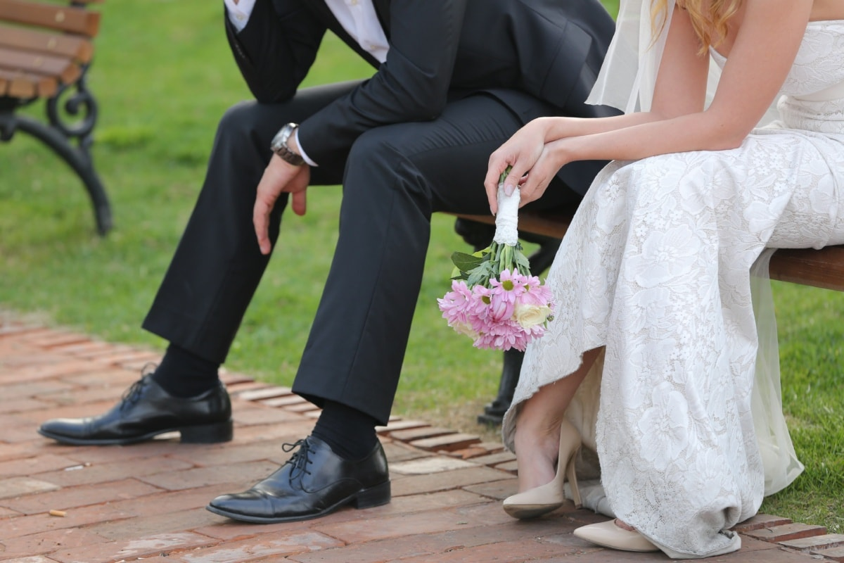 wedding dress, suit, heels, sandal, fashion, couple, bouquet, wedding, groom, bride