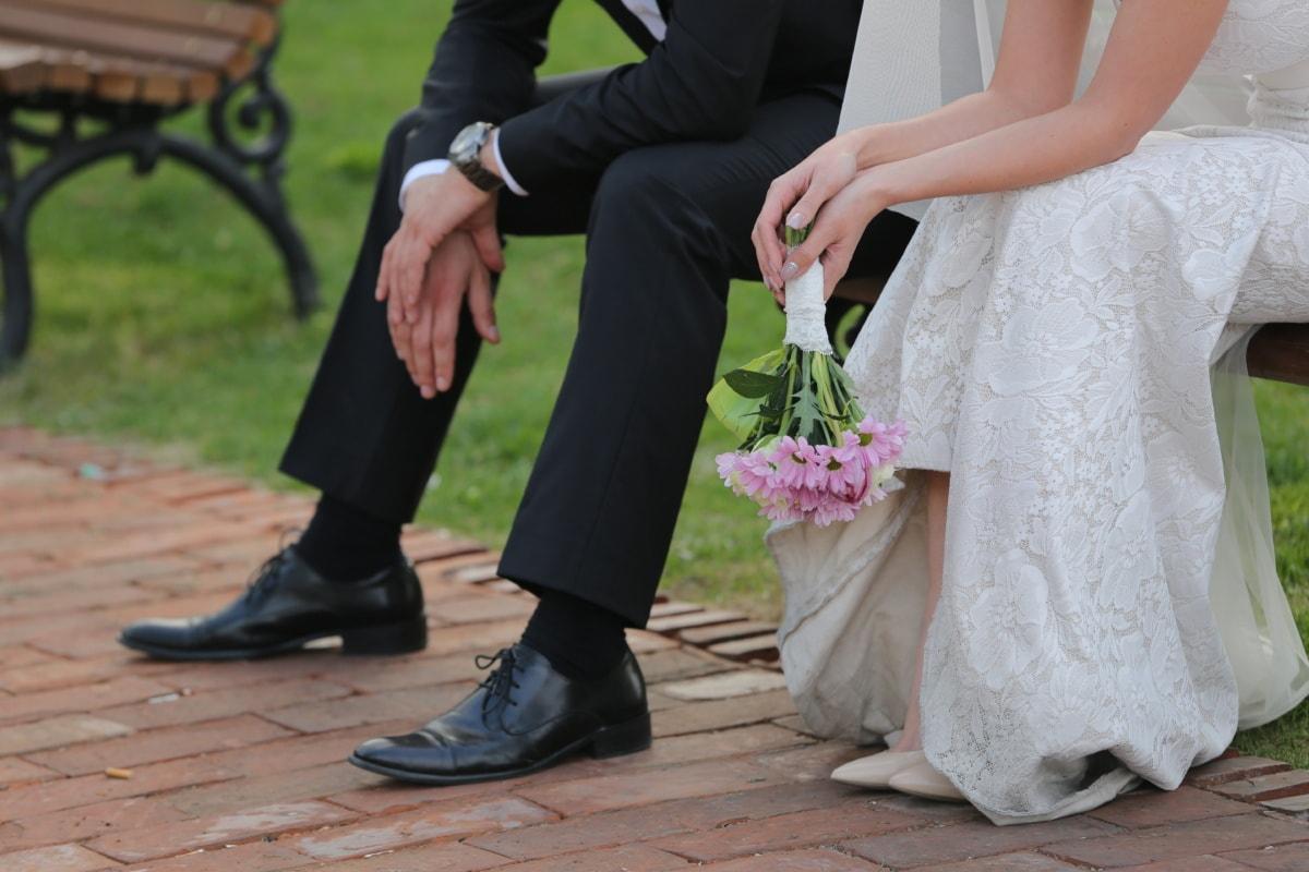 wedding dress, wedding bouquet, elegant, businessman, suit, posing, sandal, shoes, woman, wedding