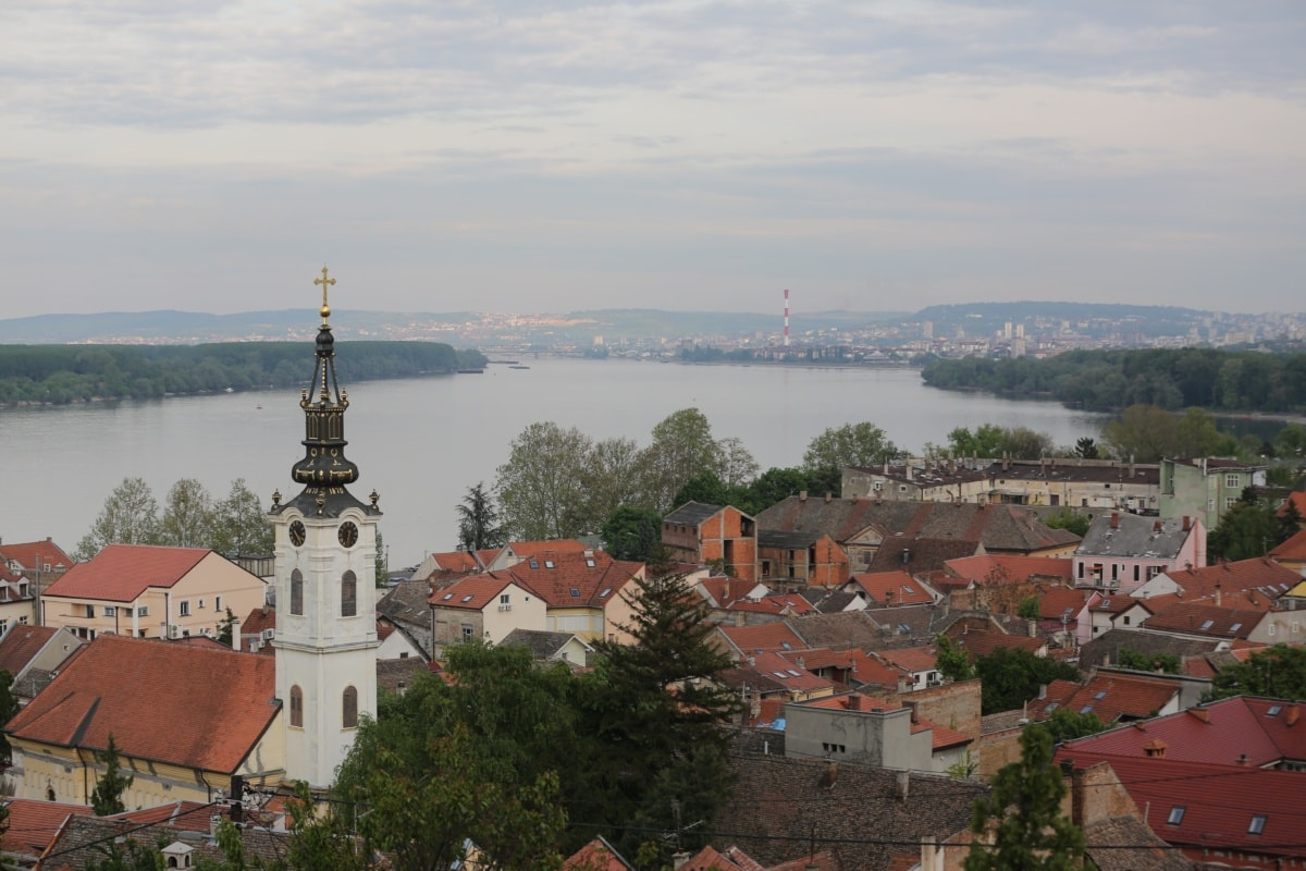 cityscape, river, panorama, church tower, roofs, residence, building, roof, architecture, monastery