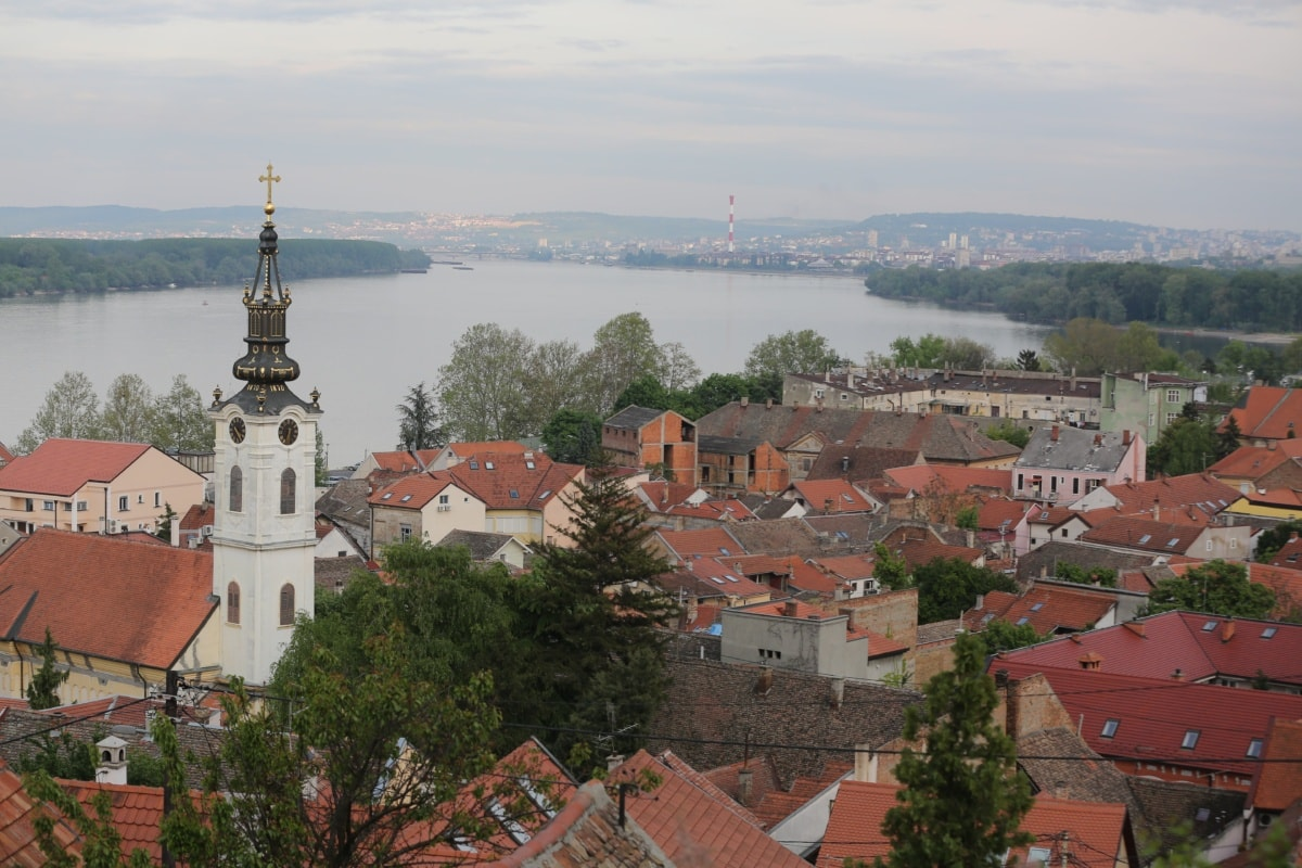 town, panoramic, church tower, riverbank, rooftop, residence, building, monastery, house, roof