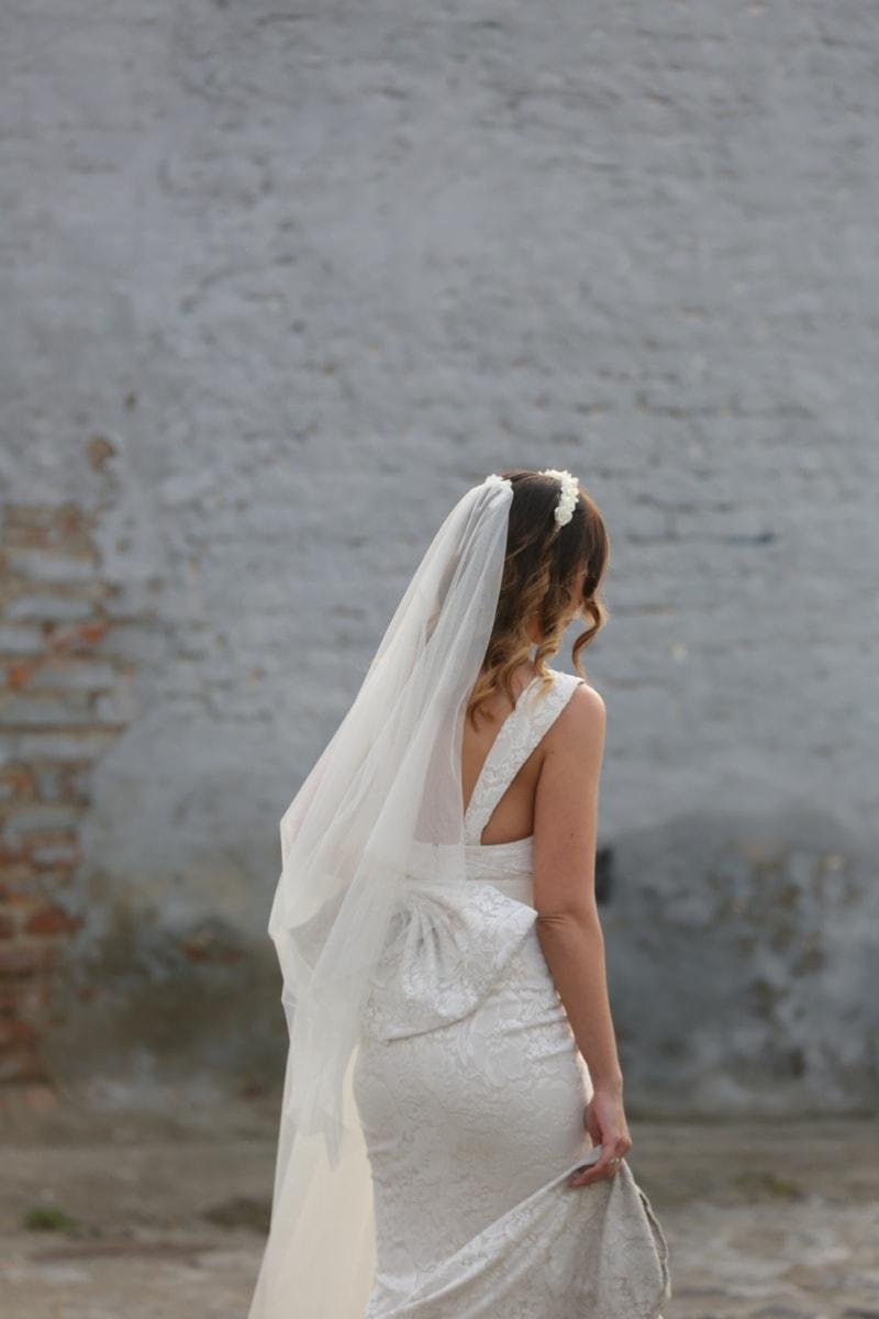 robe de mariée, voile, la mariée, mariage, magnifique, charme, Coiffure, rue, soie, mode