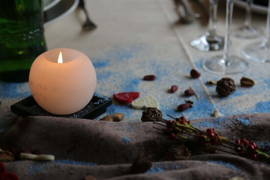 candle, candlelight, table, tablecloth, crystal, branches, bottle, romantic, glass, decorative
