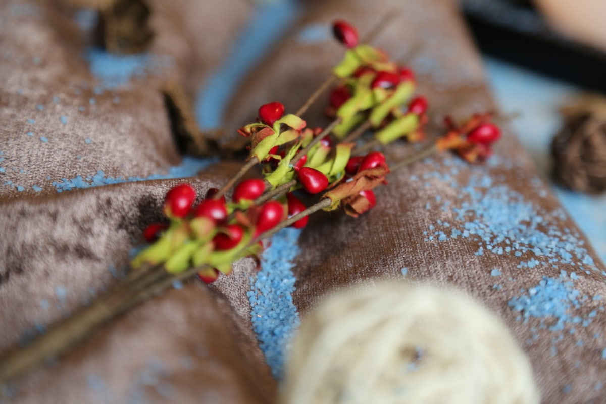 berries, interior decoration, textile, branches, crystal, traditional, homemade, blur, handmade, shrub