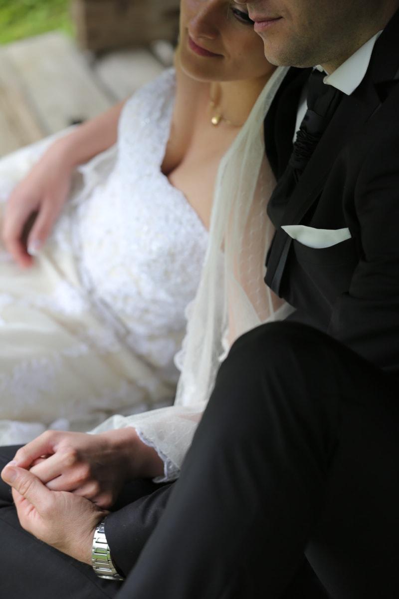tie, dress, wedding dress, suit, wife, elegance, fashion, husband, bride, woman