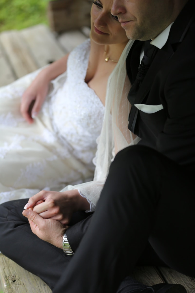 togetherness, wedding dress, suit, wife, relaxation, husband, necklace, rest, face, portrait