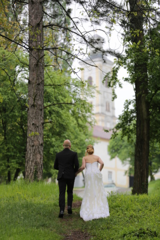 husband, bride, aspen, walking, hillside, church tower, park, conifers, wedding, groom