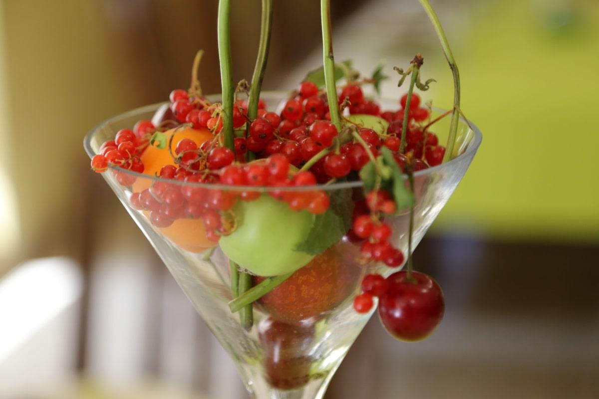 cocktail de fruits, fruits, cerises, raisin sec, doux, baie, arbuste, santé, frais, groseille