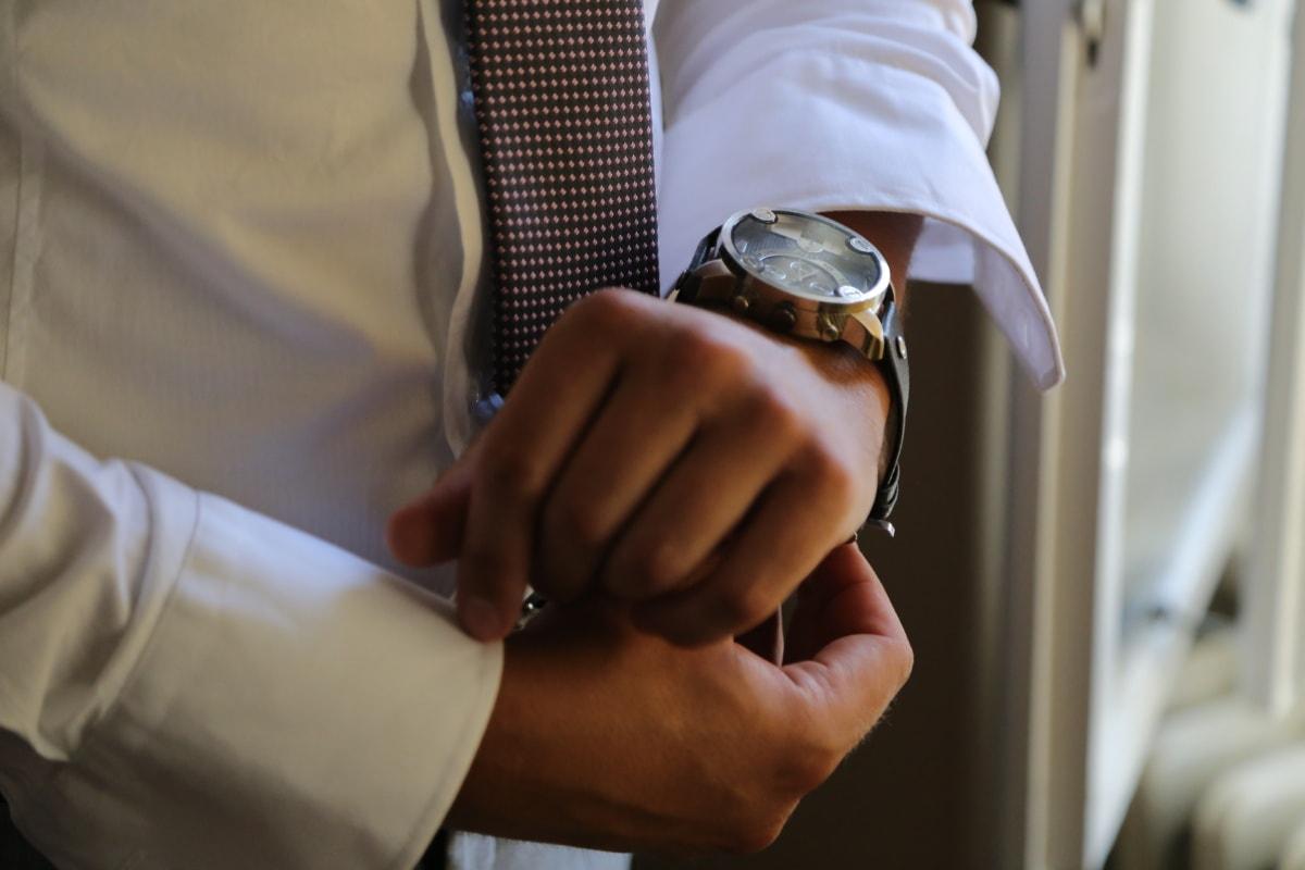 horloge analogique, montre à bracelet, entreprise, homme d'affaire, Entreprise, attacher, main, homme, unité, professionnel