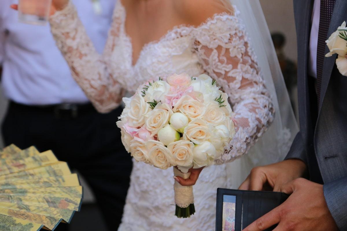 bouquet de mariage, la mariée, robe de mariée, mariage, cérémonie, foule, bouquet, amour, décoration, engagement